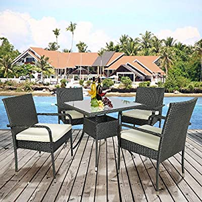 Merax Patio Dining Table Set Outdoor Furniture PE Rattan Wicker Conversation Set - UPGRADED DINING SET: Outdoor dining set with 4 Single sofa chair, 1 Table with tempered glass and 4 Cushions, a whole new look and feel for your patio, pool, garden, outdoor, porch. MATERIAL: Made of high-quality PE rattan wicker and steel frame, Our wicker is strong and durable.Breathable seat cushions for optimal comfort and relaxation. FLEXIBLE COMBINATION: Outside dining set can have many configuration options based on your preference and geography. - patio-furniture, dining-sets-patio-funiture, patio - 61OHnrv29CL. SS400  -