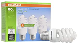 SYLVANIA General Lighting 26378 Sylvania CFL Light Bulb, 6500K, 3