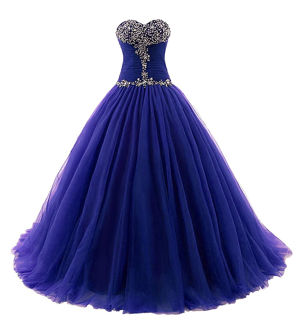 bluee Vantexi Women's Strapless Tulle Quinceanera Dress Prom Ball Gown