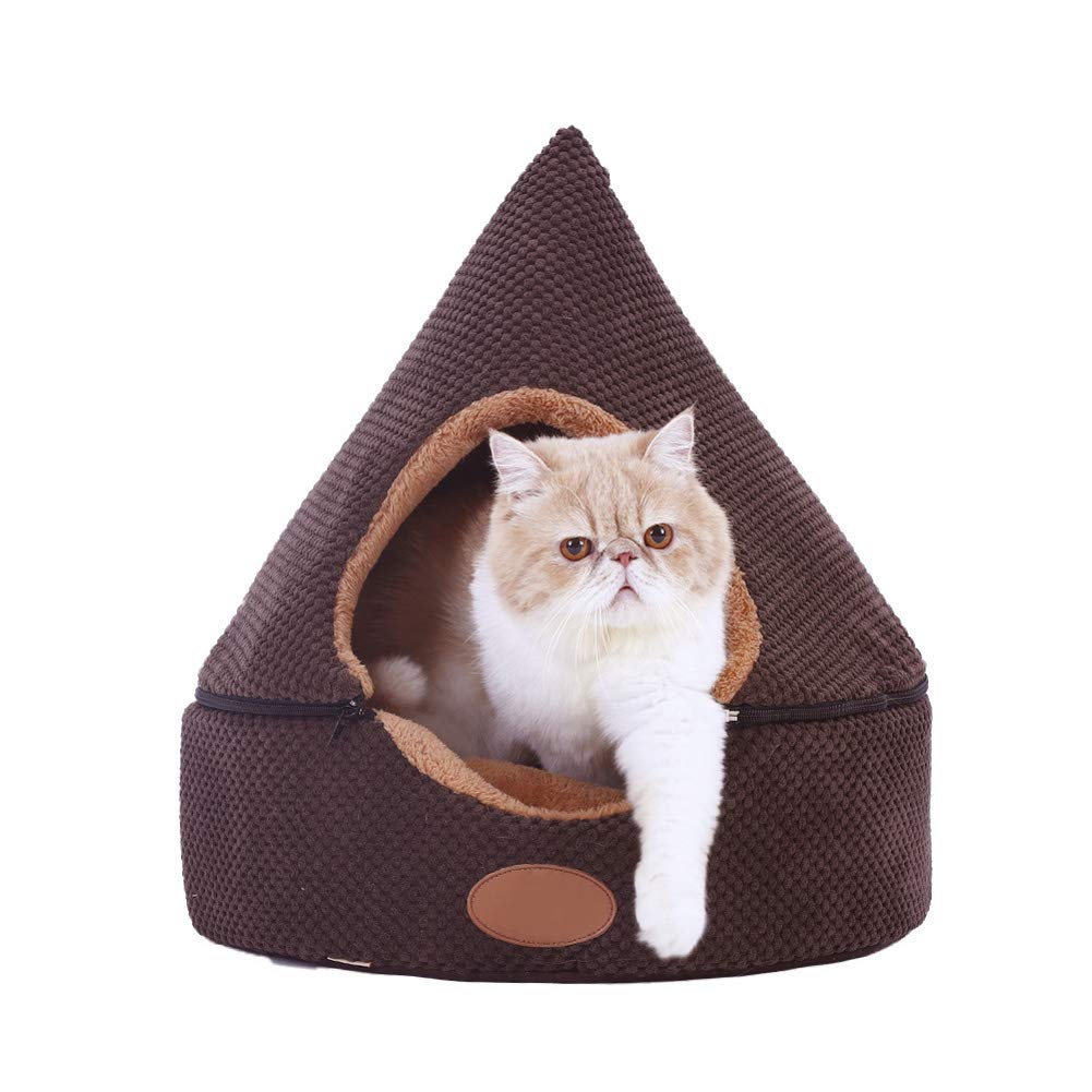 Brown 434346cm Brown 434346cm Pet Bed, Warm Kennel Cat Litter in Winter, Pet Sleeping Nest, Detachable House,Brown,43  43  46Cm