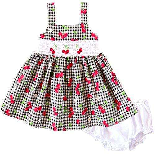 Good Lad Infant Girl - Good Lad Infant Girls Black and White Gingham Cherry Print Cotton Smocked Dress (18M)