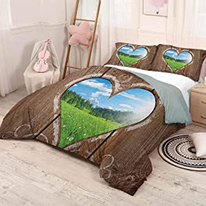 HELLOLEON (Twin) Outhouse Extra Large Quilt Cover Heart Window View from Wooden Rustic Farm Barn Shed with Chalk Art Image Can be Used as a Quilt Cover-Lightweight Brown Blue and Green