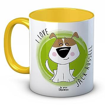 Taza Animales Mascotas Perros Gatos - I Love Jack Russell - Amarilla - 350 ml - Tazas con frases de animales para regalar: Amazon.es: Hogar