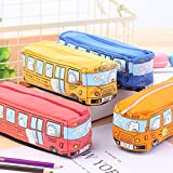 4 Pcs Cartoon Animal School Bus Pencil, Case Kawaii Large Capacity Canvas Stationery Pouch Pen Case Pencil Case, School Supplies Kids Gift(Bus)
