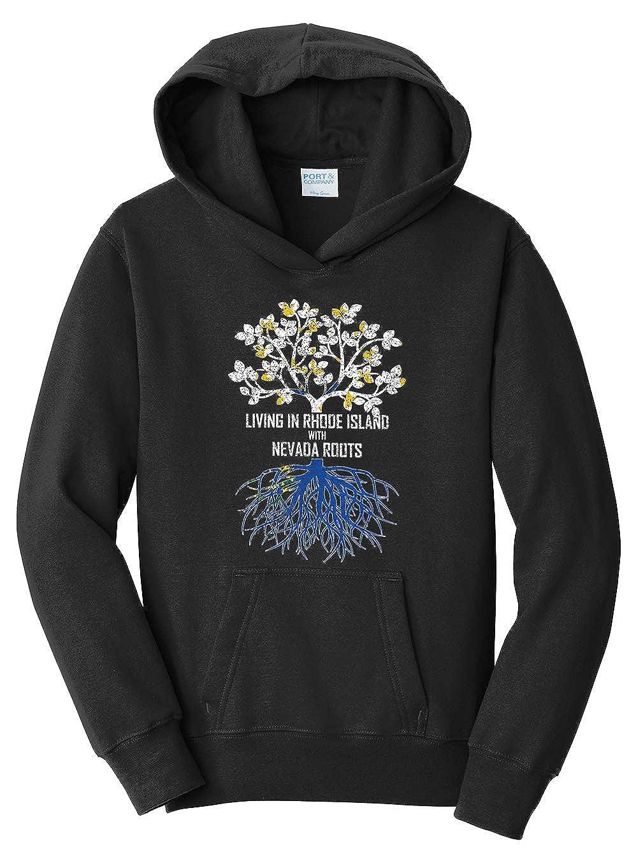 Tenacitee Girls Living in Rhode Island with Nevada Roots Hooded Sweatshirt
