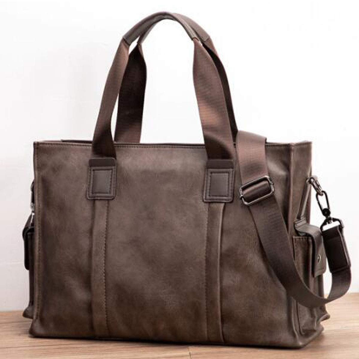 Large Capacity Messenger Bag Trend Retro Casual Business Tote Khaki Size: 40.711.627.3cm Very Beautiful Color : Dark Coffee Xingganglengyin Briefcase Color : Dark Coffee
