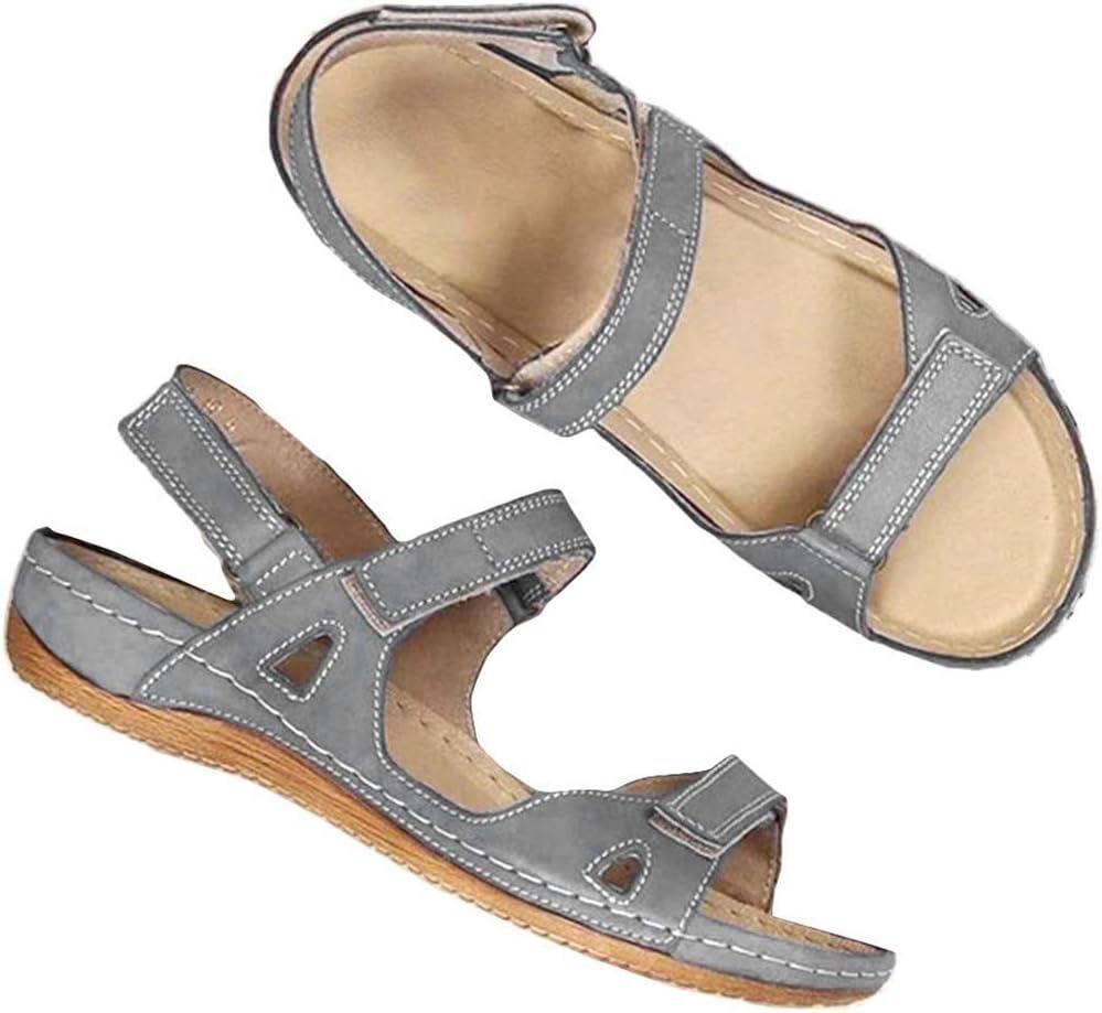 LOVEXIN Sandalia para Mujer con Cómodo Cierre de Velcro, Sandalias de Cuero Ortopédicas con Punta Abierta para Zapatos de Cuña Casuales con Arco Plano para el Verano al Aire Libre,Gris,43