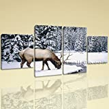 Large Animal Wall Art Elk Canvas Photography Painting Dining Room 4 Panels Print, Large ELK Wall Art, Dining Room, White Lilac