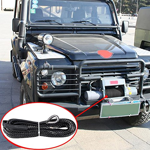 14-Inch-x-50-BLACK-Synthetic-Winch-Line-Cable-Rope-6400LBs-Sheath-Thimble-Recovery-Replacement-ATV-UTV-Truck-Boat