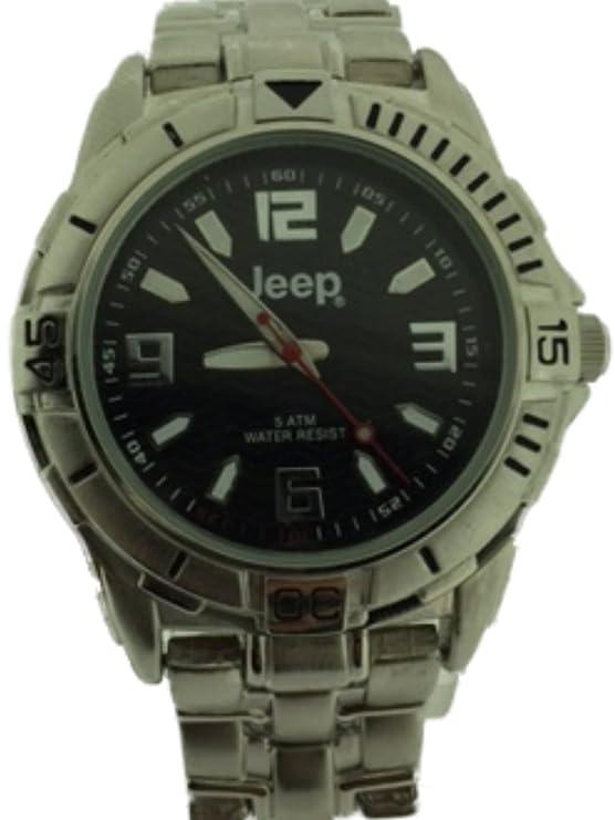 Reloj de pulsera Jeep para hombre con correa, dial negro y bisel giratorio JP26/C
