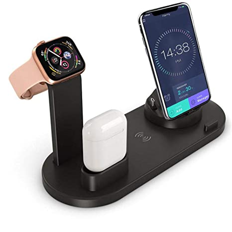 FOONEE 6 en 1 Estación Carga Rápida Qi Inalámbrica Soporte Carga, Cargador Inalambrico para Apple Watch Series 4/3/2/1, iPhone XS MAX XR X 8, AirPods, ...