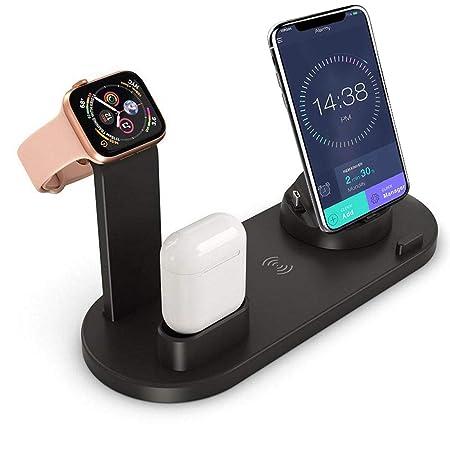 FOONEE 3 en 1 Estación Carga Rápida Qi Inalámbrica Soporte Carga, Cargador Inalambrico para Apple Watch Series 4/3/2/1, iPhone XS MAX XR X 8, AirPods, ...