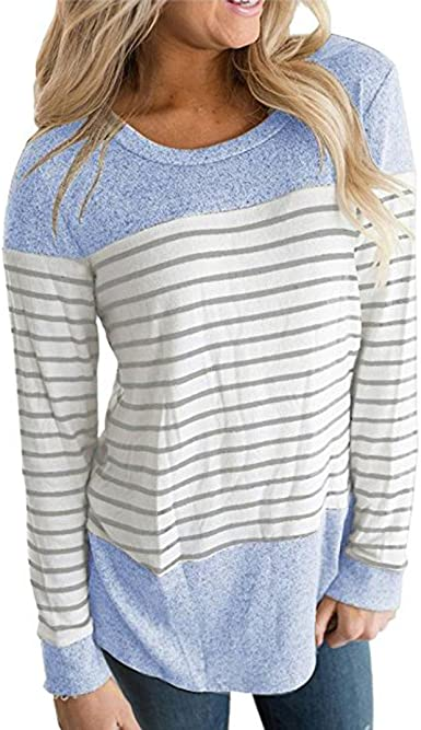 SHOBDW Separación Mujeres rayadas Patchwork elástico Casual Manga Larga Blusa Tops Camisa