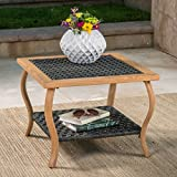Saint Pete Outdoor Grey Wicker Coffee Table with Light Brown Wood Finished Metal Legs