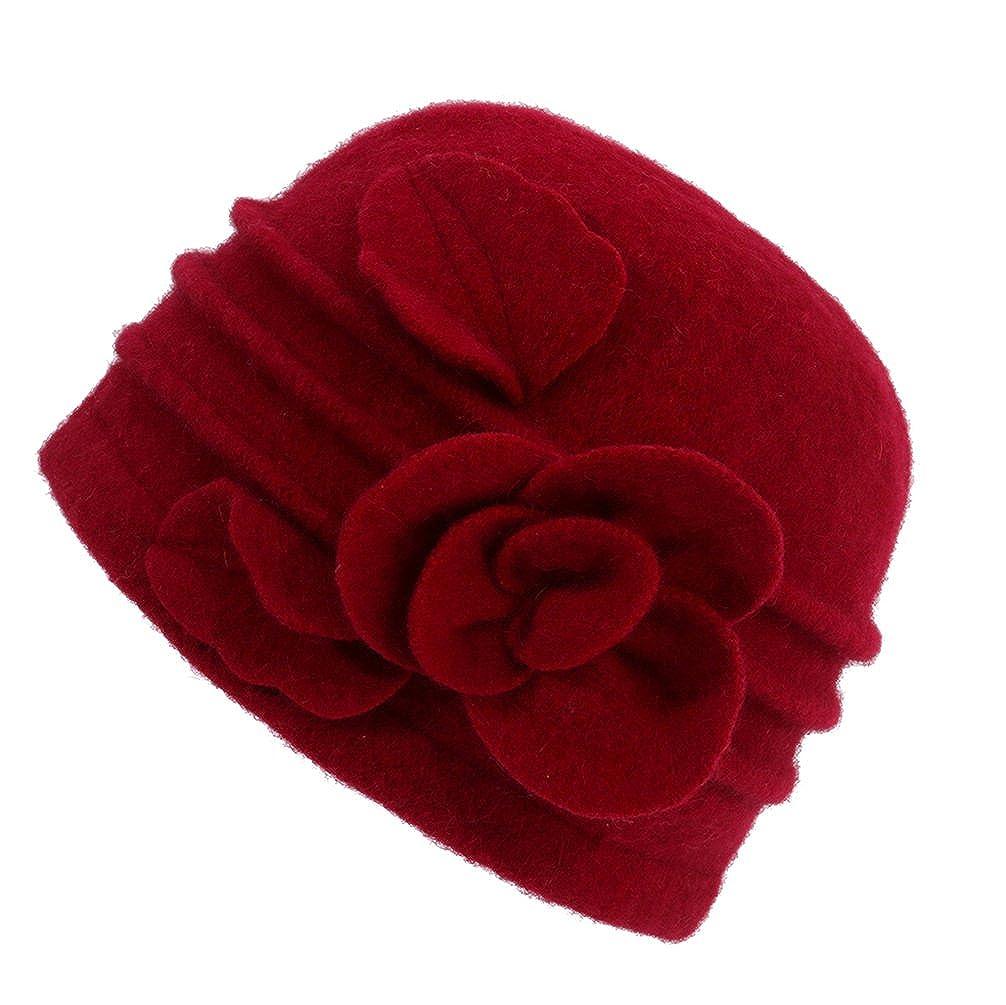 Dantiya Women's Winter Warm Wool Cloche Bucket Hat Slouch Wrinkled Beanie Cap With Flower