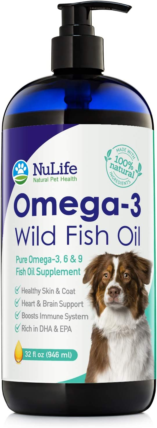Pure Omega 3 Fish Oil for Dogs Liquid, Wild Caught from Iceland, Skin and Coat Supplement for Shedding, Dry Itchy Skin, Heart & Joint Health, Rich in EPA + DHA with Omega 3, 6 & 9 Fatty Acids, 32 oz