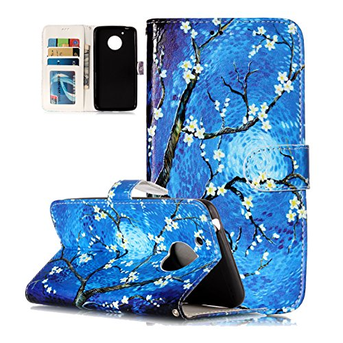 Price comparison product image MOTO G5 Case, Ranyi [Flip Magnetic Wallet] [Cute Painting Pattern] [Card Holder] [Kickstand Feature] Premium PU Leather Folio Purse Case for Motorola Moto G5 / Moto G (5th Generation), blue flower