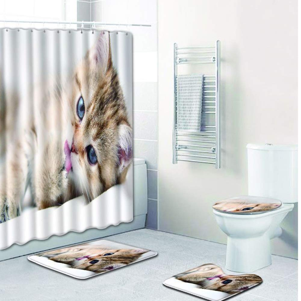 ETH Small Milk Cat Pattern Shower Curtain Floor Mat Bathroom Toilet Seat Four-Piece Carpet Water Absorption Does Not Fade Versatile Comfortable Bathroom Mat Can Be Machine Washed Durable by ETH