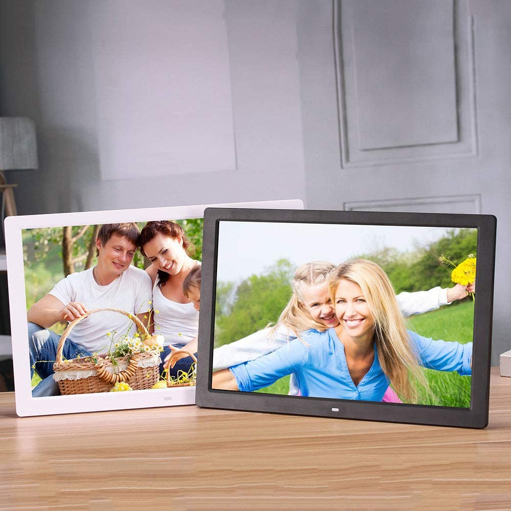 SONADY 17 Inch Digital Photo Frame Commercial Advertising Machine with Av Input with Automatic Loop Playback//Calendar//Alarm for Home,White