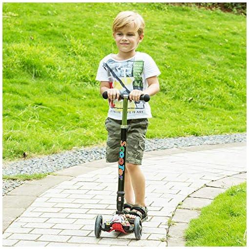 WeSkate Trottinette Enfant Trottinette 3 Roues Pliable,Roues Lumineuses et Guidon Ajustable,Patinette pour Filles et Garçons de 3-12 Ans Multi-Couleurs et Imprimé