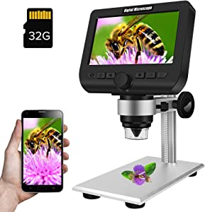 Coin Microscope, Dcorn 4.3 Inch WiFi Digital Microscope 50X-1000X Magnification 2 Megapixels Video Camera Handheld Wireless LCD Digital Microscope Compatible with iPhone, iPad, Android, Mac, Windows