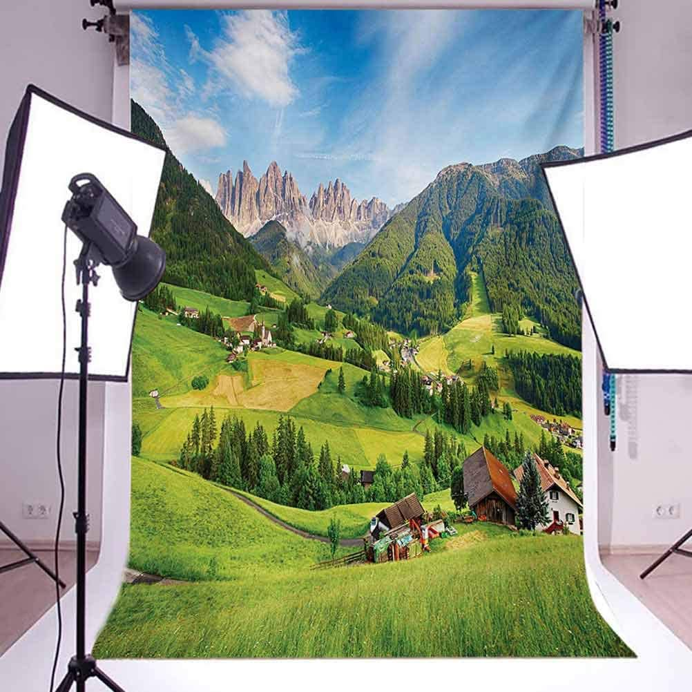Nature 6.5x10 FT Photo Backdrops,Alps in The Spring Season with Fresh Grass Sky Majestic Mountains Image Artistic Background for Child Baby Shower Photo Vinyl Studio Prop Photobooth Photoshoot