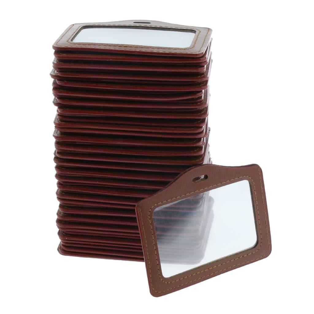 50pcs Funda de Tarjeta de Identificaci/ón Transparente de Cuero Artificial Portatarjetas para Negocio Horizontal Exposici/ón y Oficina