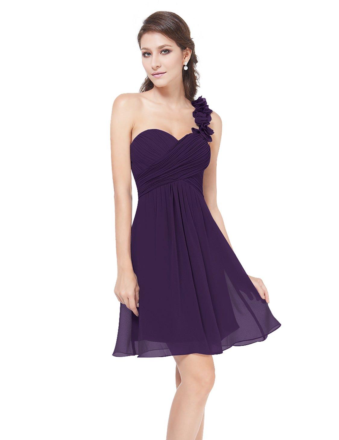 Ever-Pretty Juniors One Shoulder Knee Length Bridesmaids Dress 6 US Purple