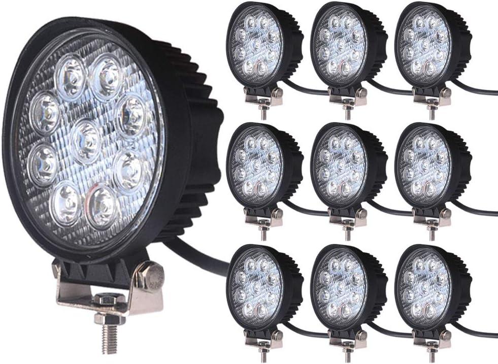 6K LED 427S Square LED Work Light Lamp, Off Road High Power ATV, Jeep Wrangler RV Trailer Fishing Boat Tractor Truck Spot, 27W - 4 Pack