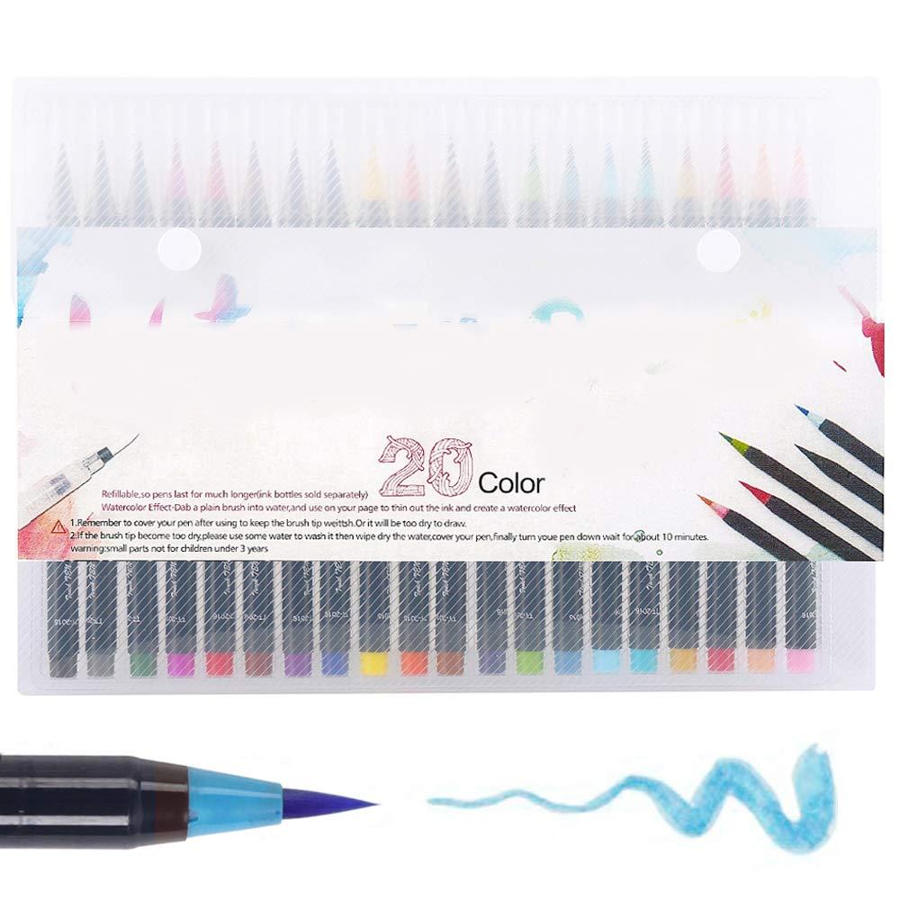 Wrighteu Watercolor Brush Pen Lápices de Acuarela Rotuladores Set 20