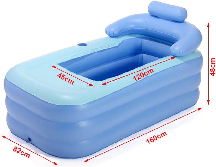 Oukaning Portable Adulte Spa pliable en PVC Baignoire de bain gonflable Ttub piscine enfant piscine gonflable Bleu