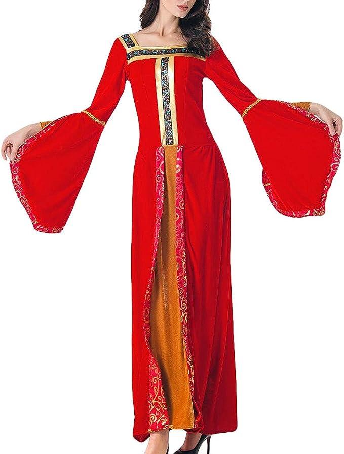 Fossenfeliz Disfraz Bruja Mujer Gótico Disfraces Medievales Princesa Reina, Vestidos de Fiesta Mujer Tallas Grandes de Halloween