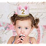 E&L Baby Girl 2nd Birthday Decoration- Golden & Pink Crown Birthday Headband