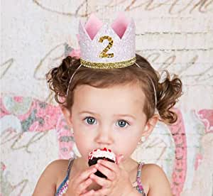 E&L Baby Girl 2nd Birthday Decoration- Golden & Pink Crown Birthday Headband