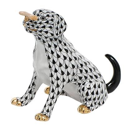 Amazon com: Herend Figurine Dog Max with Bone Puppy Black Fishnet