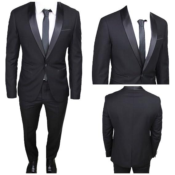 Moda Classica Abito Uomo Nero Super Slim Giacca E Pantalone Smoking Vestito  Elegante Cerimonia Comunione ( db66b9fd073