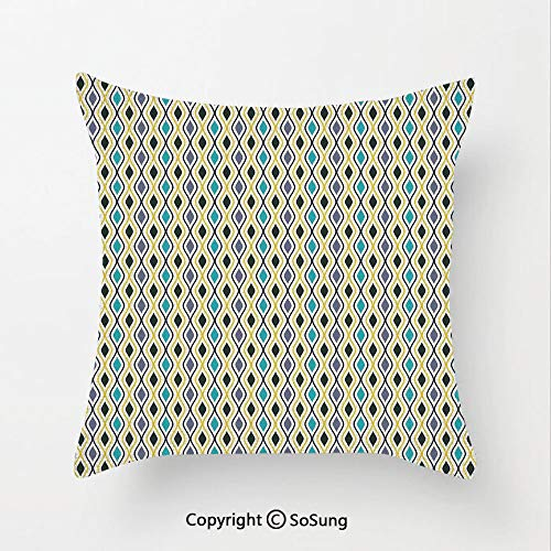 SoSung Abstract Linen Throw Pillow Cushion,Vertical Waves Curvy Lines Oval Drop Like Forms Retro Style Concept Art,15.7x15.7Inches,for Sofa Bedroom Car & Home Decorate Purple Black Sky Blue