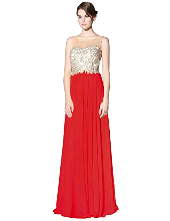 Clearbridal Womens Lace Applique Prom Evening Dresses Long Chiffon Ball Gowns LX356 Red UK12