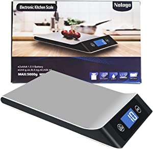 Digital Kitchen Scales Weight Grams and Ounces – 11Lb Food Scale for Kitchen – Precise Baking Cooking Scale – 1g/0.1oz Precise Graduation – Stainless Steel Design – Easy to Read LCD Display