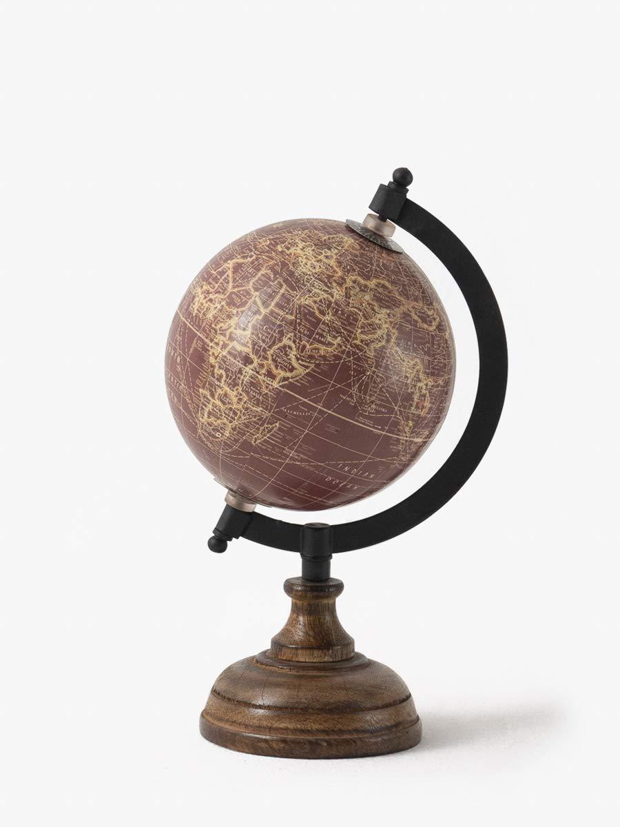 CONTEMPORARY WORLD GLOBE TABLE DESK ORNAMENT IN CREAM ON COPPER STAND 28cm