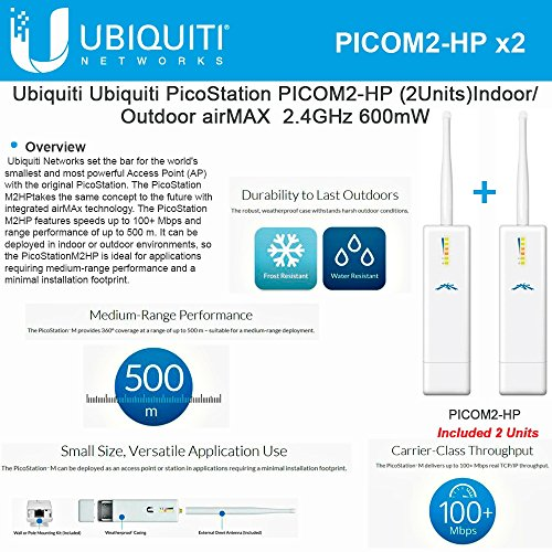 Ubiquiti PicoStation PICOM2-HP (2Units) Indoor/Outdoor airMAX 2.4GHz 600mW by Ubiquiti Networks