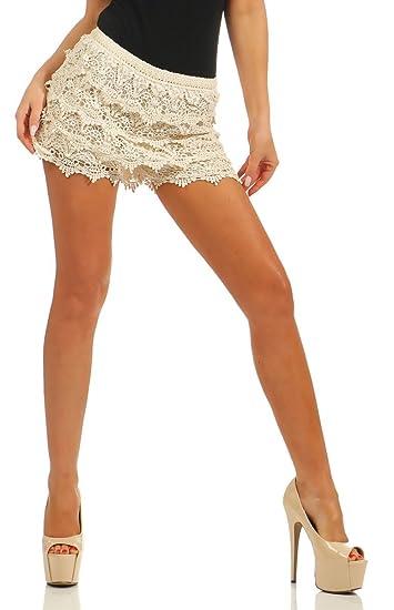 moderner Stil um 50 Prozent reduziert Infos für Fashion4Young 4335 Damen Shorts Hotpants Spitze Double-Layer Gummizug Party  Kurze Hose Clubwear