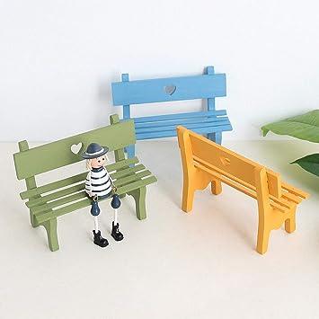 Miniature Craft Long Wood Double Stool Bench Miniature Figurine Mini Ornament