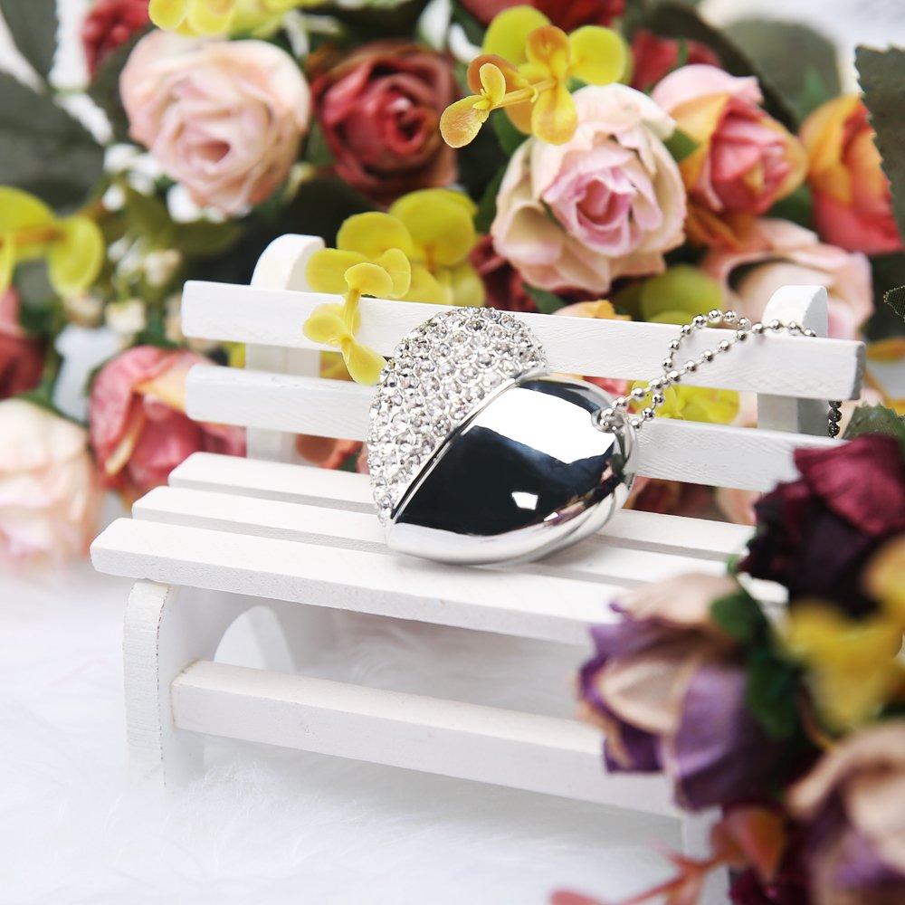 MAXINDA Gioielli Cuore Chiavetta USB 16 GB 2.0 di Metallo Memoria usb con Cordino e Borsa Regalo ( Argento Cuore)