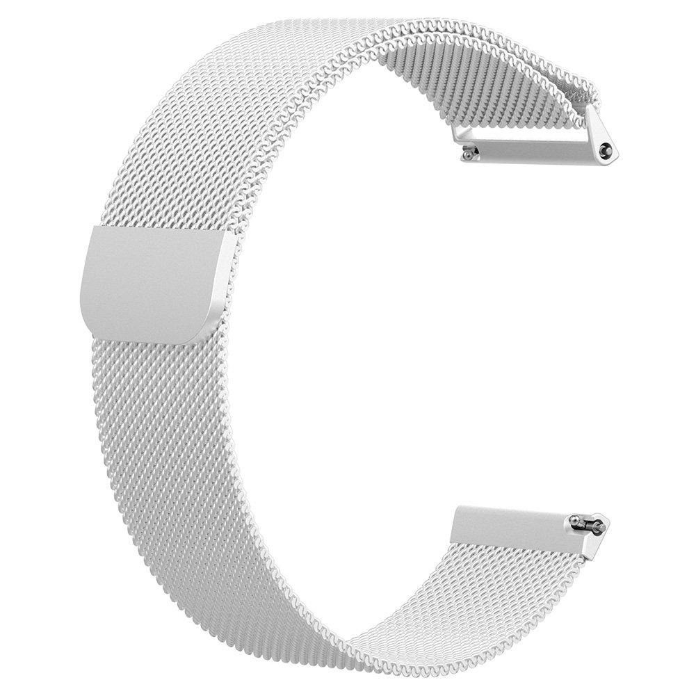 Easydealレザー腕時計バンドストラップブレスレットベルト交換用for Fitbit Versa シルバー B07C813Q85 シルバー シルバー