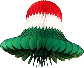 product image for 6-Pack Red, White, and Green 11 Inch Honeycomb Tissue Paper Bell Decoration