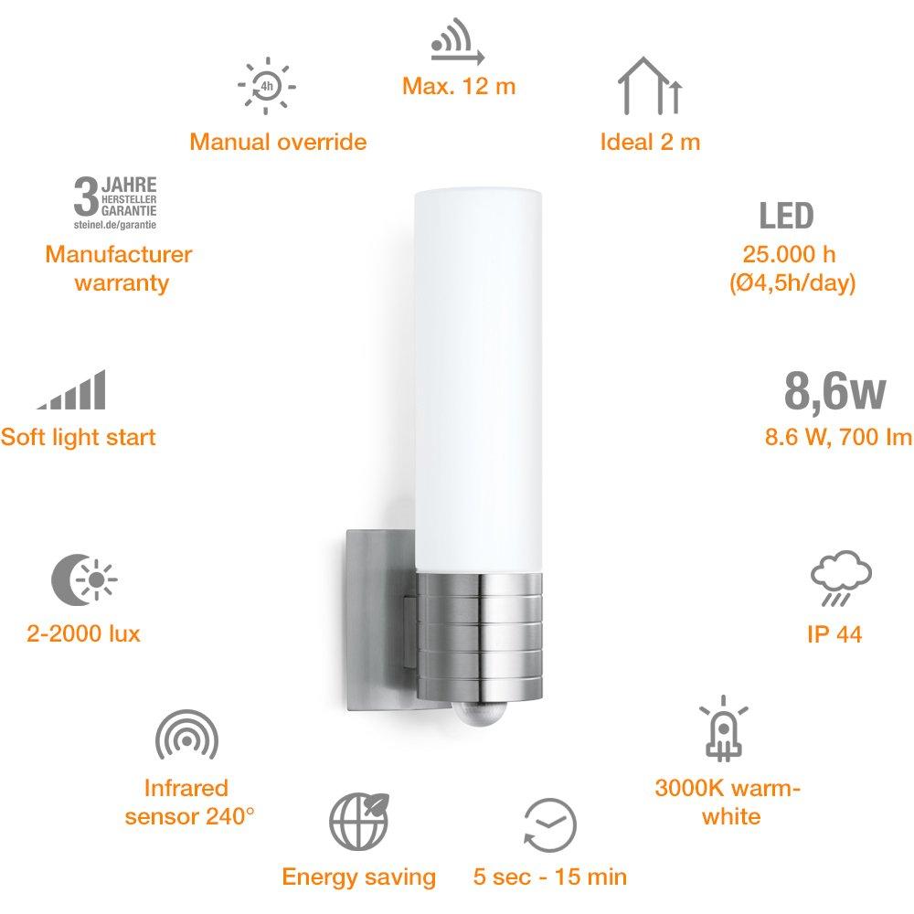 Steinel L 260 LED 007874 - Lampara LED con 360° detector de movimiento y efectos luminosos, aplique diseño de aluminio y cristal opalino, luz LED ambiental, ...