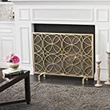 Veritas Single Panel Gold Iron Fireplace Screen