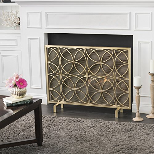 Veritas Single Panel Gold Iron Fireplace Screen by GDF Studio