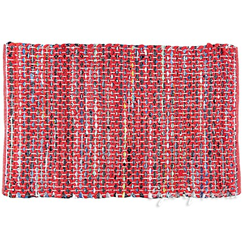 Eyes of India - 3 X 5 ft Red Colorful Chindi Woven Rag Rug Bohemian Boho Decorative Indian